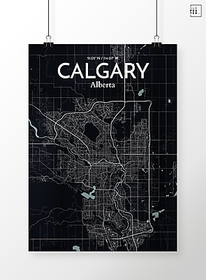 OurPoster.com 'Calgary City Map' Graphic Art Print Poster in Midnight; 36'' H x 24'' W