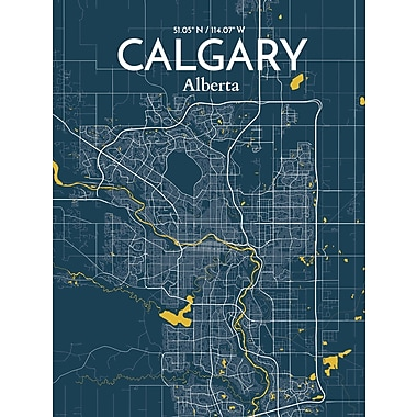 OurPoster.com 'Calgary City Map' Graphic Art Print Poster in Amuse; 36'' H x 24'' W