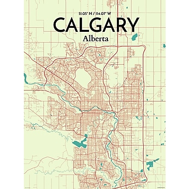 OurPoster.com 'Calgary City Map' Graphic Art Print Poster in Tricolor; 17'' H x 11'' W