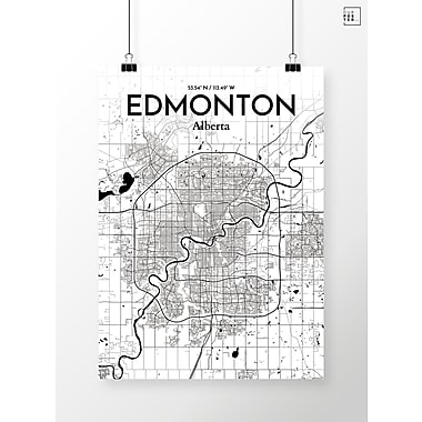 OurPoster.com 'Edmonton City Map' Graphic Art Print Poster in Ink; 20'' H x 16'' W