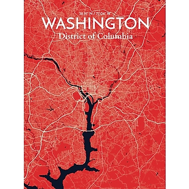 OurPoster.com 'Washington DC City Map' Graphic Art Print Poster in Nautical; 27.56'' H x 19.69'' W