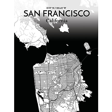 OurPoster.com 'San Francisco City Map' Graphic Art Print Poster in Ink; 17'' H x 11'' W