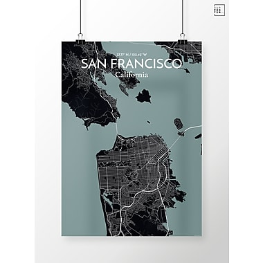 OurPoster.com 'San Francisco City Map' Graphic Art Print Poster in Midnight; 27.56'' H x 19.69'' W