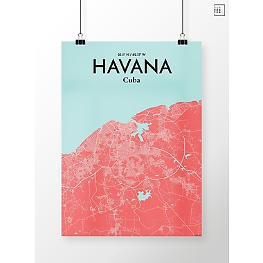 OurPoster.com 'Havana City Map' Graphic Art Print Poster in Maritime; 36'' H x 24'' W
