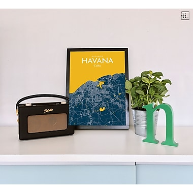 OurPoster.com 'Havana City Map' Graphic Art Print Poster in Amuse; 36'' H x 24'' W
