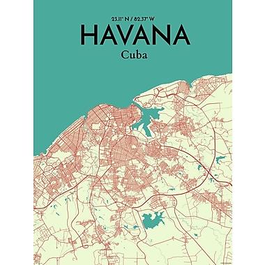 OurPoster.com 'Havana City Map' Graphic Art Print Poster in Green/Beige; 36'' H x 24'' W