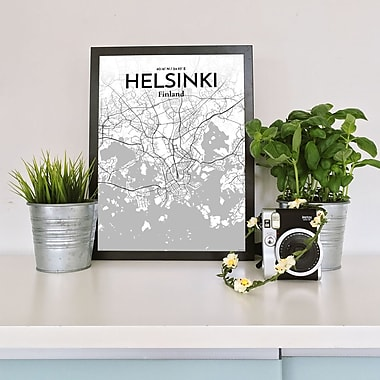 OurPoster.com 'Helsinki City Map' Graphic Art Print Poster in Tones; 36'' H x 24'' W
