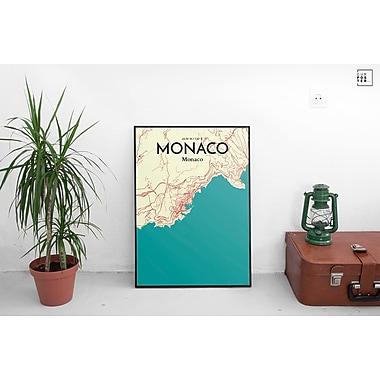 OurPoster.com 'Monaco City Map' Graphic Art Print Poster in Tricolor; 27.56'' H x 19.69'' W