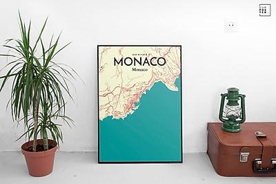 OurPoster.com 'Monaco City Map' Graphic Art Print Poster in Tricolor; 36'' H x 24'' W