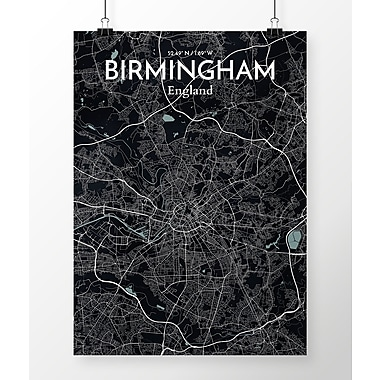 OurPoster.com 'Birmingham City Map' Graphic Art Print Poster in Black; 24'' H x 18'' W