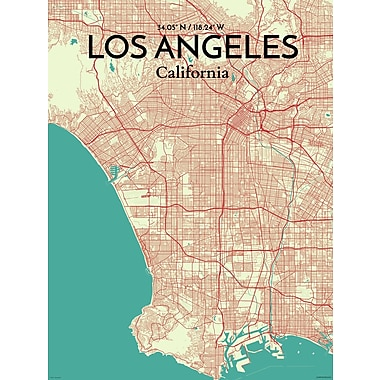 OurPoster.com 'Los Angeles City Map' Graphic Art Print Poster in Tricolor; 17'' H x 11'' W