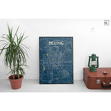 OurPoster.com 'Beijing City Map' Graphic Art Print Poster in Amuse; 24'' H x 18'' W