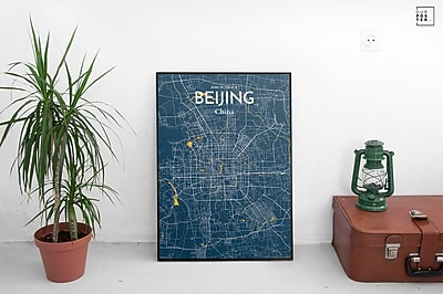 OurPoster.com 'Beijing City Map' Graphic Art Print Poster in Amuse; 27.56'' H x 19.69'' W