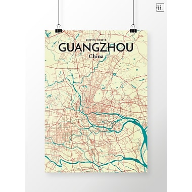 OurPoster.com 'Guangzhou City Map' Graphic Art Print Poster in Tricolor; 27.56'' H x 19.69'' W