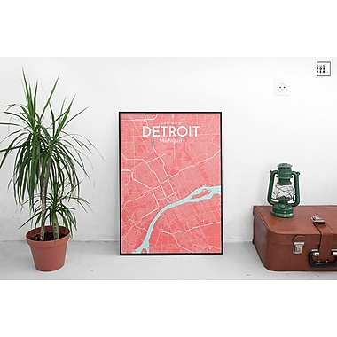 OurPoster.com 'Detroit City Map' Graphic Art Print Poster in Maritime; 20'' H x 16'' W