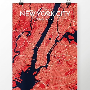 OurPoster.com 'New York City Map' Graphic Art Print Poster in Nautical; 17'' H x 11'' W