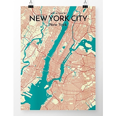OurPoster.com 'New York City Map' Graphic Art Print Poster in Green; 24'' H x 18'' W