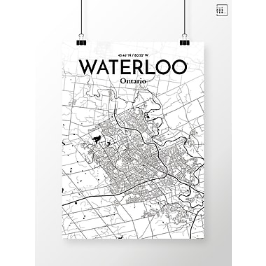 OurPoster.com 'Waterloo City Map' Graphic Art Print Poster in Ink; 27.56'' H x 19.69'' W