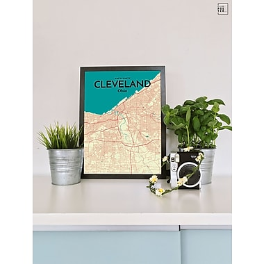 OurPoster.com 'Cleveland City Map' Graphic Art Print Poster in Tricolor; 17'' H x 11'' W