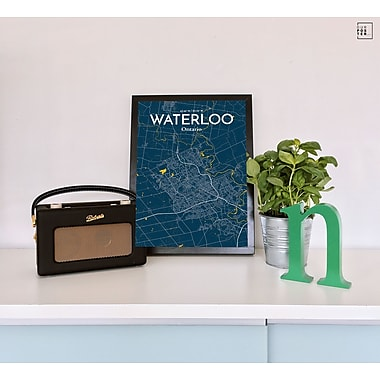 OurPoster.com 'Waterloo City Map' Graphic Art Print Poster in Amuse; 24'' H x 18'' W