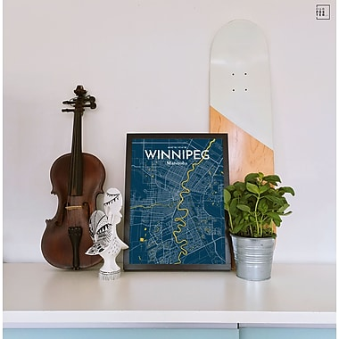 OurPoster.com 'Winnipeg City Map' Graphic Art Print Poster in Amuse; 27.56'' H x 19.69'' W