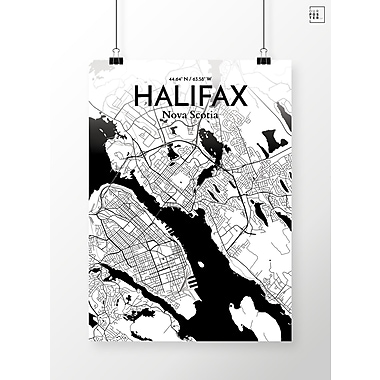 OurPoster.com 'Halifax City Map' Graphic Art Print Poster in Ink; 24'' H x 18'' W