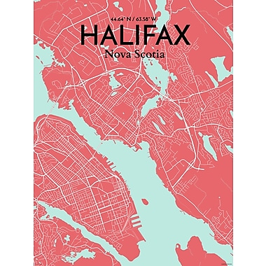 OurPoster.com 'Halifax City Map' Graphic Art Print Poster in Maritime; 17'' H x 11'' W