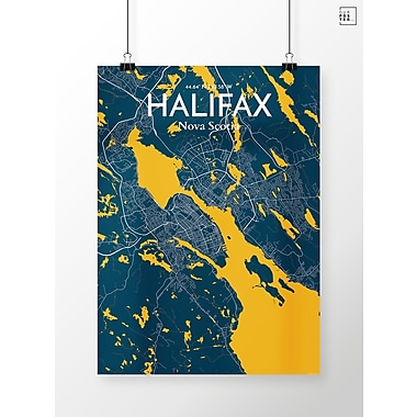 OurPoster.com 'Halifax City Map' Graphic Art Print Poster in Amuse; 27.56'' H x 19.69'' W