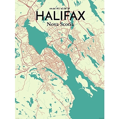 OurPoster.com 'Halifax City Map' Graphic Art Print Poster in Tricolor; 20'' H x 16'' W