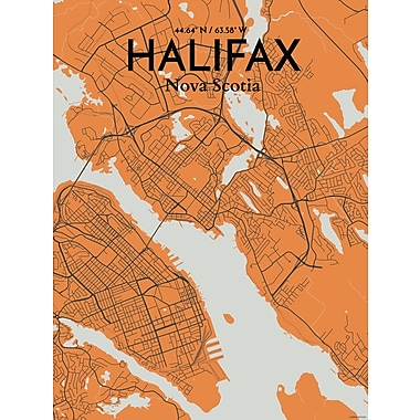 OurPoster.com 'Halifax City Map' Graphic Art Print Poster in Orange; 27.56'' H x 19.69'' W