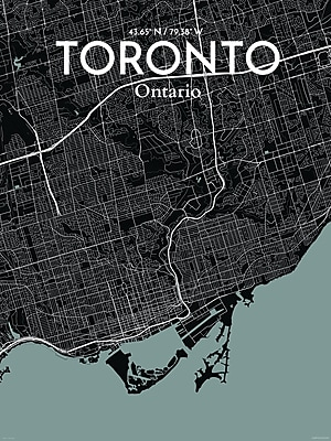 OurPoster.com 'Toronto City Map' Graphic Art Print Poster in Midnight; 20'' H x 16'' W