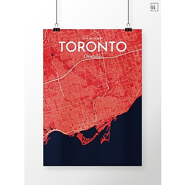 OurPoster.com 'Toronto City Map' Graphic Art Print Poster in Nautical; 27.56'' H x 19.69'' W