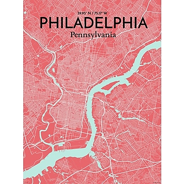 OurPoster.com 'Philadelphia City Map' Graphic Art Print Poster in Maritime; 24'' H x 18'' W
