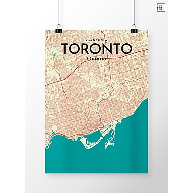 OurPoster.com 'Toronto City Map' Graphic Art Print Poster in Tricolor; 17'' H x 11'' W