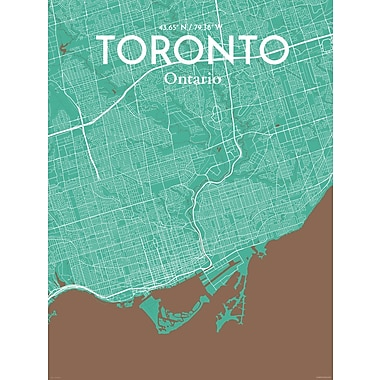 OurPoster.com 'Toronto City Map' Graphic Art Print Poster in Nature; 27.56'' H x 19.69'' W