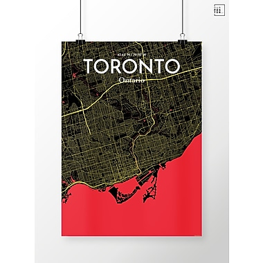 OurPoster.com 'Toronto City Map' Graphic Art Print Poster in Contrast; 17'' H x 11'' W