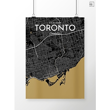 OurPoster.com 'Toronto City Map' Graphic Art Print Poster in Luxe; 17'' H x 11'' W