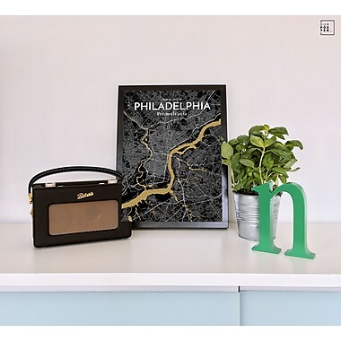 OurPoster.com 'Philadelphia City Map' Graphic Art Print Poster in Luxe; 20'' H x 16'' W