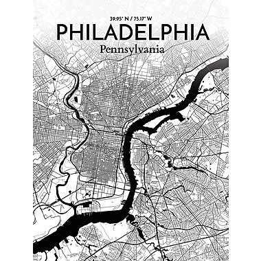 OurPoster.com 'Philadelphia City Map' Graphic Art Print Poster in Ink; 27.56'' H x 19.69'' W