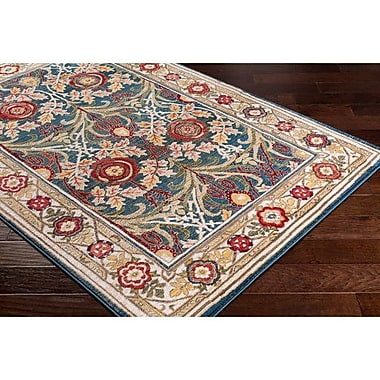 Bloomsbury Market Napa Traditional Navy/White Floral Area Rug