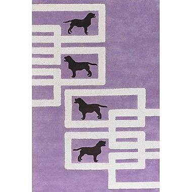 East Urban Home Valencia Dog Purple/White Novelty Rug; 3'6'' x 5'6''