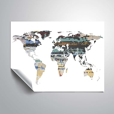 ArtWall Painted World Map I Wall Mural; 24'' H x 32'' W