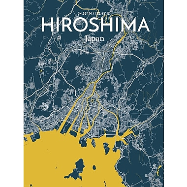 OurPoster.com 'Hiroshima City Map' Graphic Art Print Poster in Amuse; 20'' H x 16'' W