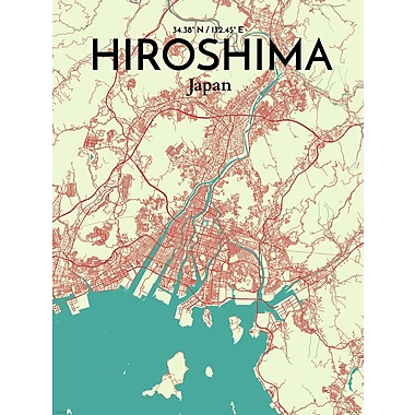 OurPoster.com 'Hiroshima City Map' Graphic Art Print Poster in Tricolor; 24'' H x 18'' W
