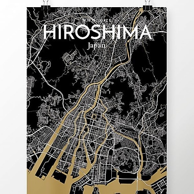 OurPoster.com 'Hiroshima City Map' Graphic Art Print Poster in Luxe; 36'' H x 24'' W