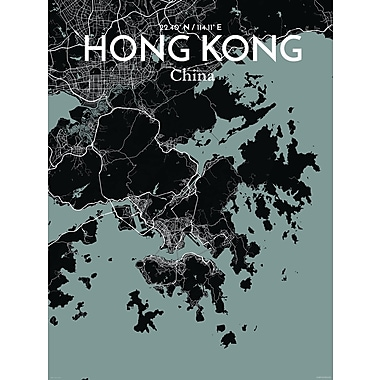 OurPoster.com 'Hong Kong City Map' Graphic Art Print Poster in Midnight; 24'' H x 18'' W