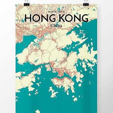 OurPoster.com 'Hong Kong City Map' Graphic Art Print Poster in Tricolor; 17'' H x 11'' W