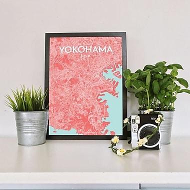 OurPoster.com 'Yokohama City Map' Graphic Art Print Poster in Maritime; 36'' H x 24'' W