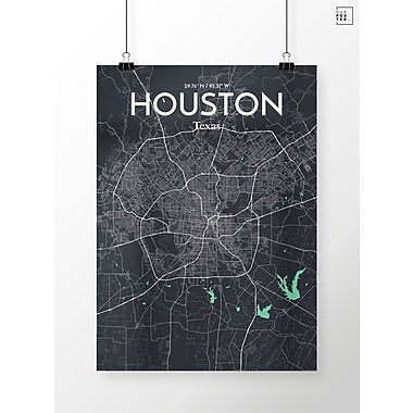 OurPoster.com 'Houston City Map' Graphic Art Print Poster in Dream; 17'' H x 11'' W