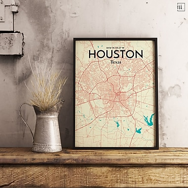 OurPoster.com 'Houston City Map' Graphic Art Print Poster in Tricolor; 36'' H x 24'' W